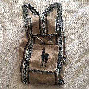 Peru alpaca lama boho drawstring backpack